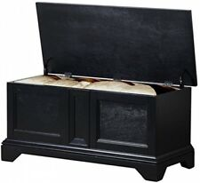 Hope Chest Cedar Trunk Wooden Bedroom Storage Bench Blanket Treasure Box Black