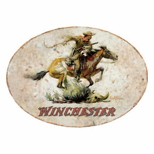 NEW Oval  Winchester HORSE AND Rider METAL SIGN  12x17in