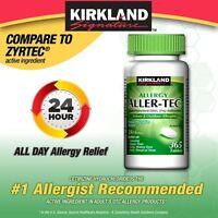 Aller-Tec Allergy 10 mg Cetirizine HCI Antihistamine Generic ZYRTEC 365 Tablets