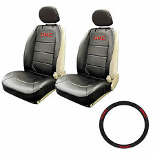 New 5pc Car Truck Leather Front Seat Covers Steering Wheel Cover Combo for GMC