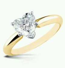 1.00CT BRILLIANT HEART SHAPED CUT SOLITAIRE ENGAGEMENT RING REAL 14K YELLOW GOLD