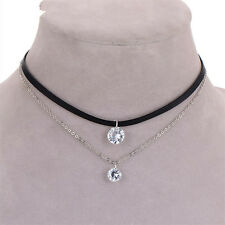 Fashion Gothic Black Velvet Choker Collar Layer Necklace Crystal Charm Pendant