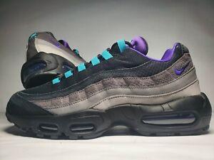 (New Men's Size 12) Nike Air Max 95 LV8 Black Grape Purple Shoes (AO2450-002)