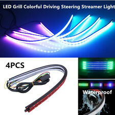 4PCS 12V LED Car Grill Colorful Steering Driving Lamp Streamer Light Strips 60CM