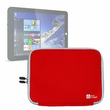 Red 10-inch Tablet Case in Neoprene w/ Dual Zip Closure For Linx 1010 / 1010B