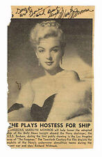 Impression encadrée-Marilyn Monroe à bord du USS Benham journal clipping (ART)