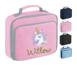 Personalised School Lunch Bag, Pink Unicorn Rainbow + Name, Choice of Colour,104