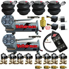 "VoltAirMaxxx 480C Compressors 1/2"" Valves Air Ride 2600 Bags 7 Switch Controller"