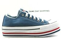 Converse Chuck Taylor (Womens Size 6.5) Platform Layer Ox Shoes 563973C Blue