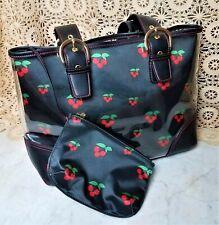 Joan Rivers Classic Handbag Tote Purse Satchel w Makeup Bag Black Red Cherries