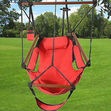Deluxe Air Hammock Hanging Patio Tree Sky Swing Chair Outdoor Porch Lounge Red