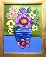 Original Painting Of Flowers, hibiscus, lilac, Flowers,folk/naive Art, In A Vase