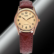 Casio MTP-1094Q-9B Mens Analog Watch Brown Leather Band Gold Quartz Numbers New