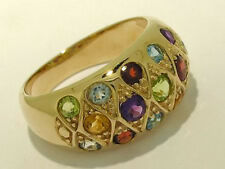 R134 - Colorful Genuine 9ct SOLID Gold NATURAL Multi- Gem DOME Ring Heavy size M