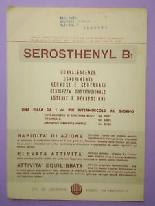 Pubblicita'Advertising Stampa Farmaceutica Vintage Originale SEROSTHENYL B1 1959