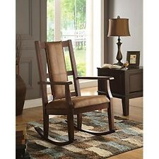 Acme Furniture 59378 Butsea Brown Fabric and Espresso Rocking Chair NEW