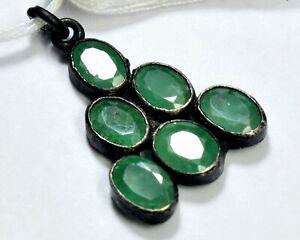 S-0063 Emerald Natural Gemstone Solid 925 Sterling Silver Designer Pendant