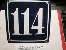 Hausnummer Emaille  Nr. 114 weisse Zahl auf blauem Hintergrund 12 cm x 12 cm
