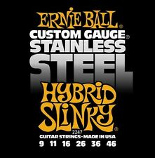 Ernie Ball 2247 Hybrid Slinky Custom Stainless Steel Guitar StringsFree US Ship