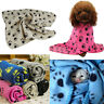 Pet Blanket Dogs & Cat Puppy Soft Warm Fleece Paw Print Bed Travel Basket Car