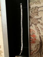"Baguette Cz Stainless Steel Bracelet 7"" Long"