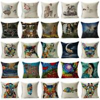 "18""Oil Painting Art Cotton Linen Throw Pillow Case Sofa Cushion Cover Home Decor"