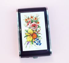 Dandy Mate Silva Purple Plastic Floral Musical Powder Compact Cigarette Case
