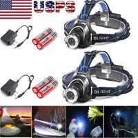 150000Lumens T6 LED Zoomable Headlamp Rechargeable 18650 Headlight Head Lamp USA