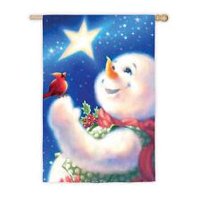 "29""x43"" FROSTY MAGIC Snowman Cardinal CHRISTMAS STAR Large Decorative Baner Flag"
