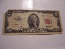 1953 RED SEAL $2 TWO DOLLAR BILL FANCY SER# A 03364120 A