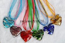 Wholesale Lot 6Pcs Heart Murano Glass Pendant Silver P Necklace FREE
