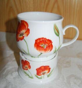 Tee-/Kaffeetasse mit Stövchen Mohnblumendekor, Cha Cult fine porcelain