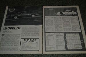 ★★1970 OPEL GT 1.9 ORIGINAL FIRST LOOK ROAD TEST ARTICLE SPECS INFO 70 2