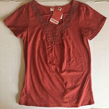 NWT Women's Wrangler Tandori Spice S/S Beaded Crochet Accent Knit Top Medium New