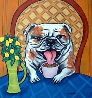 Bulldog at a coffee shop coaster dog art tile gift