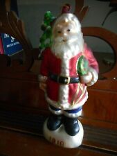"""Glass Santa Carrying Tree,Toys & Tin of Cookies Christmas Ornament 6-1/4"""" Tall"""
