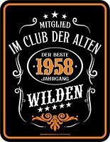 Der Beste Jahrgang 1958, Blechschild 17 x 22 cm, Geburtstag Geschenk Premium