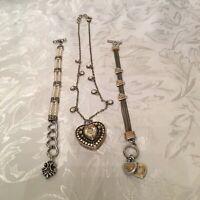 BRIGHTON Silver Crystal Heart Locket Necklace 2 Bracelets Gold Hearts & Pearls