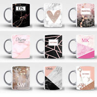 Personalise Name Initials Marble Affect Print Glass Tea Coffee Gift Mug Cup 2
