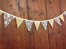 Traditional Mini bunting hessian lace 4 inch flags 1 meter ideal wedding table
