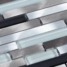 Metall Mosaik Pâte de verre mosaïque METALIQUE ALUMINIUM ARGENT NOIR GRAPHITE