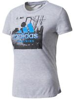 New Adidas Training Performance Logo Top T-Shirt - Grey - Ladies Womens Girls