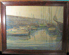 ANTIQUE AMERICAN IMPRESSIONIST BOSTON HARBOR SCHOONER SHIP PAINTING MA NY LISTED