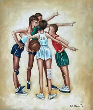 Basketball Four Boys Playing Norman Rockwell 20 x 24 Hand Painted Oil Painting