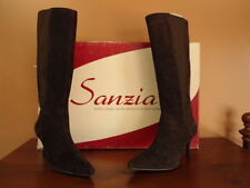 Women's Size 7M Brown Suede Leather Sanzia Bianca Knee High Boots NEW