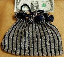 Antique glass bead beaded drawstring purse