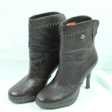 Harley-Davidson Brown High Heel Ankle Boots Pebbled Leather Gold Studded Size 8