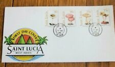 SAINT LUCIA  MUSHROOMS FUNGI  1989 SET FDC
