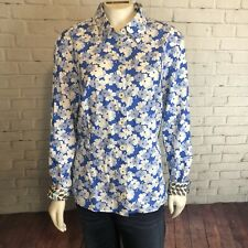 Boden Button Down Shirt Top Size 14 Womens Blue and White Floral Career Casual