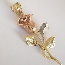 3D Solid real 10k yellow white rose flower Gold pendant charm